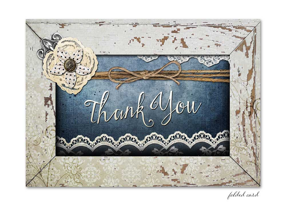 Shabby Chic Denim Lace Folded Thank You Card Odd Lot Paperie
