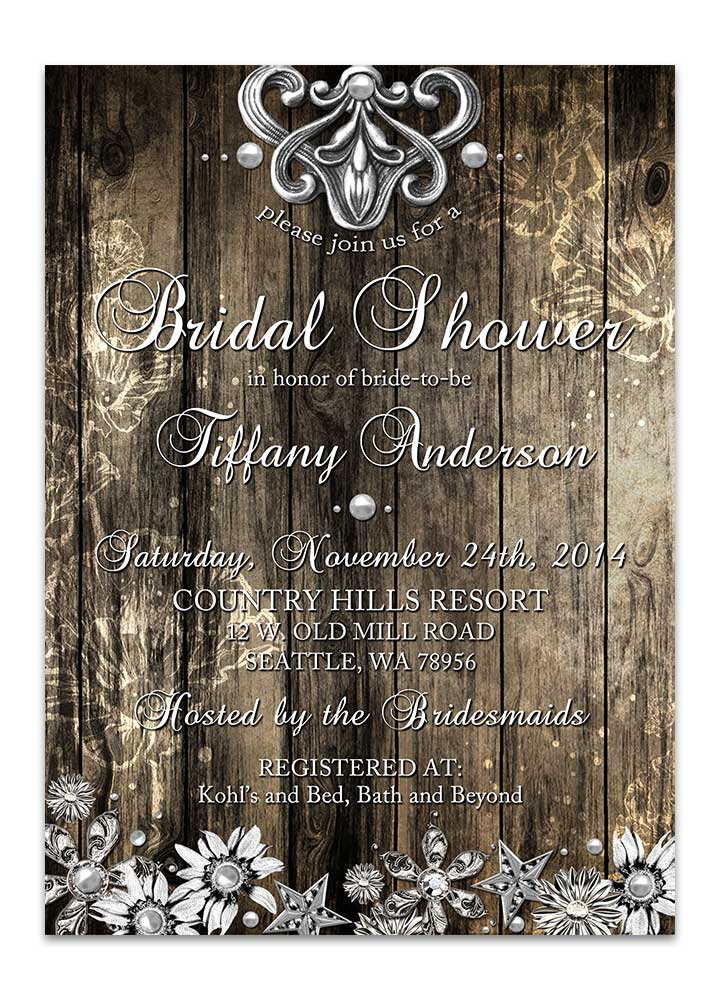 Rustic Wood And Metal Bridal Shower Invitation Odd Lot Paperie