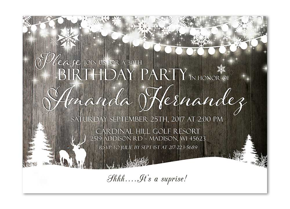 Rustic Deer Twinkling Lights Birthday Party Invitation theme party