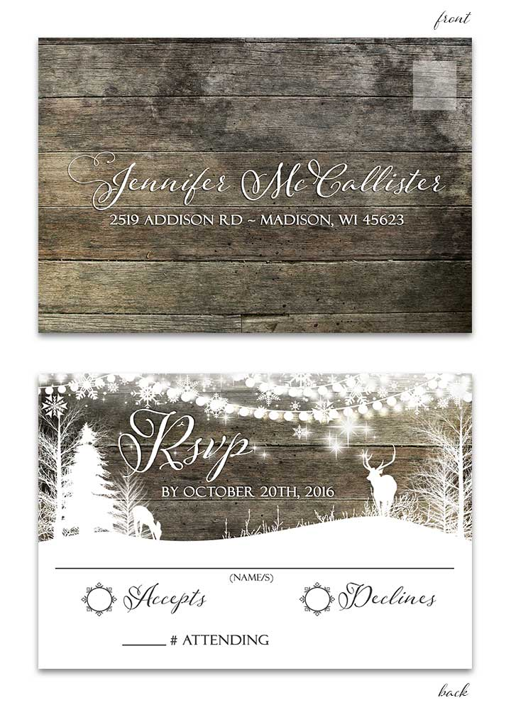 Rustic Deer Starry Night Wedding Invitation for Country Weddings