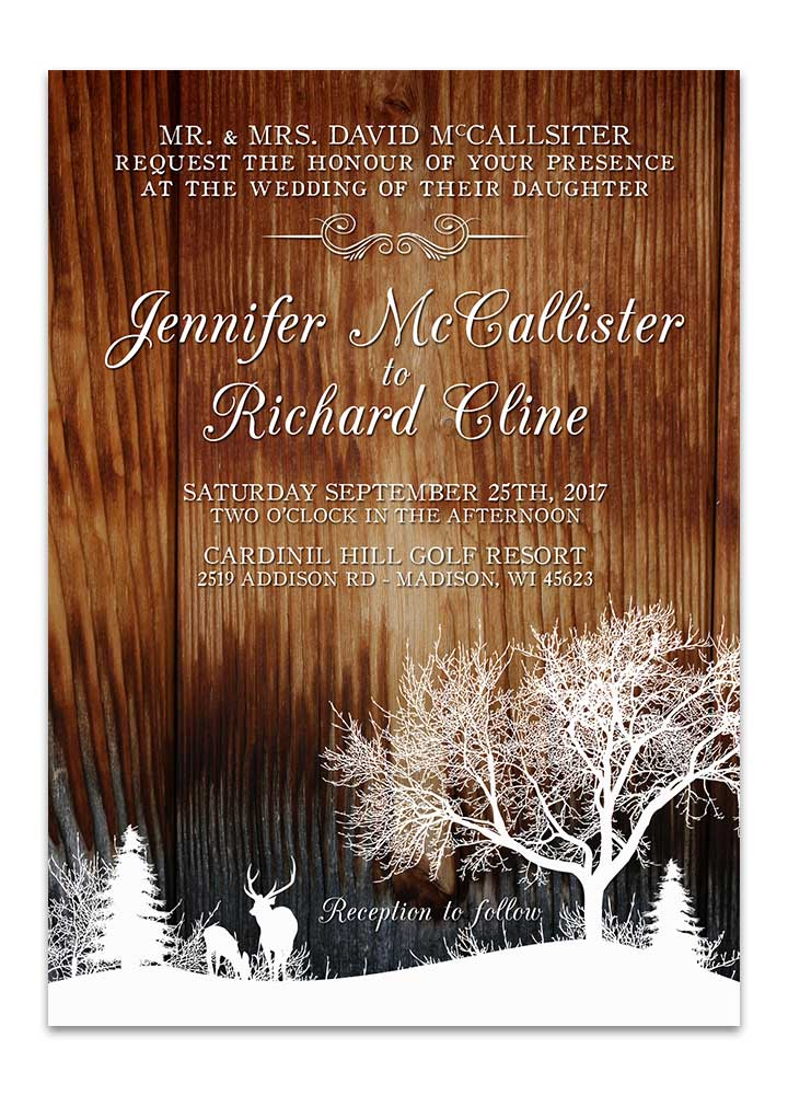 winter deer wedding program wood odd lot paperie