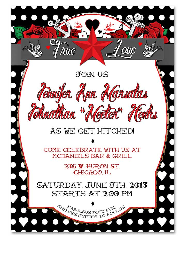 Polka Dot Tattoo Black Rockabilly Wedding Invitation