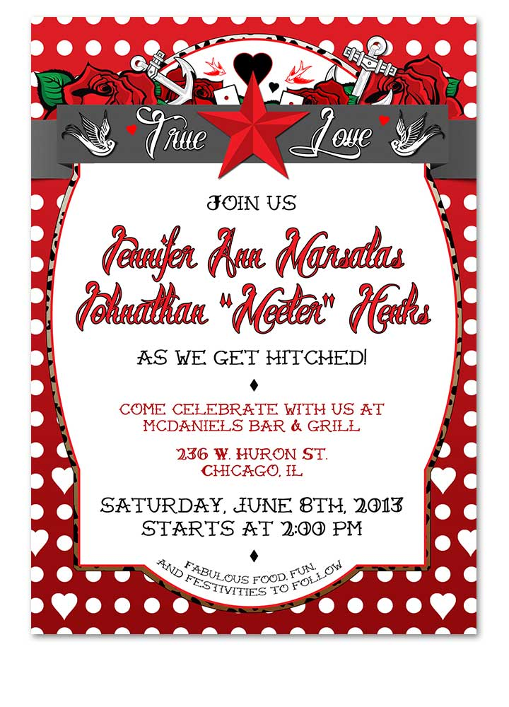 Polka Dot Tattoo Red Rockabilly Wedding Invitation