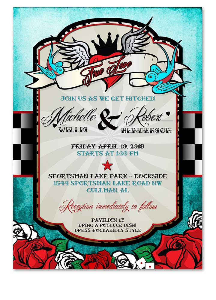 Rockabilly Wedding Invitation Blue Vintage Checkered Band