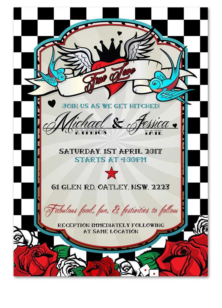 Rockabilly Black White Checkered Wedding Invitation