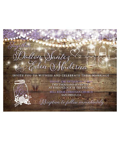 rustic lace mason jar wedding invitation for rustic themes