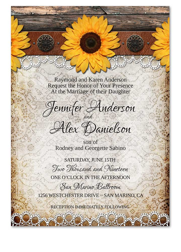 Country Rustic Sunflower Lace Wedding Invitation - Odd Lot Paperie