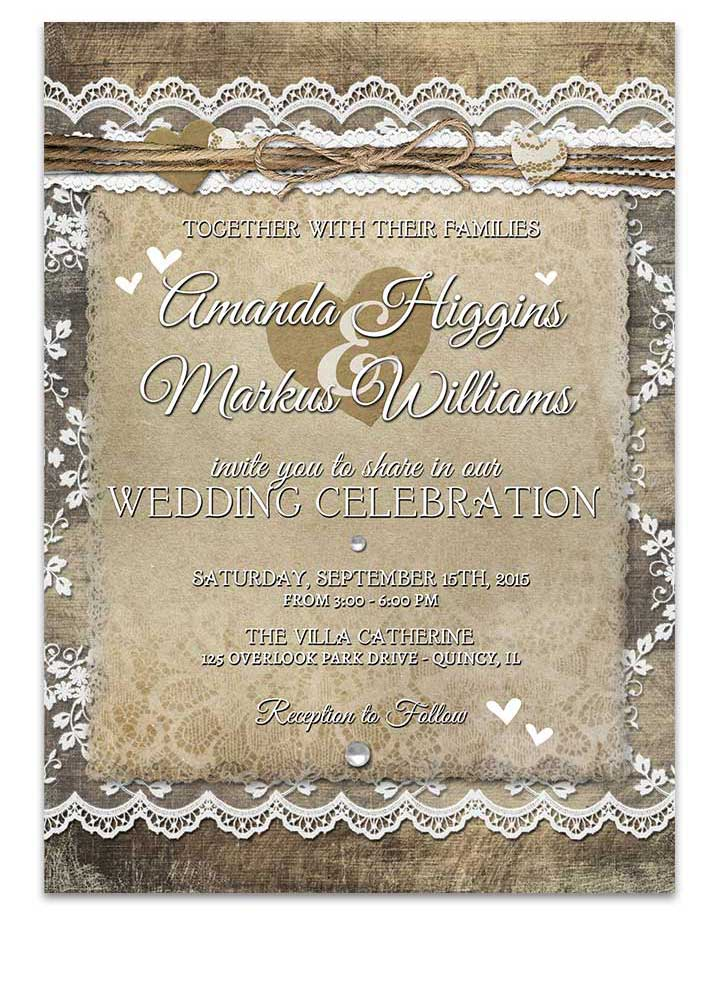 Country Rustic Lace Heart Wedding Invitation