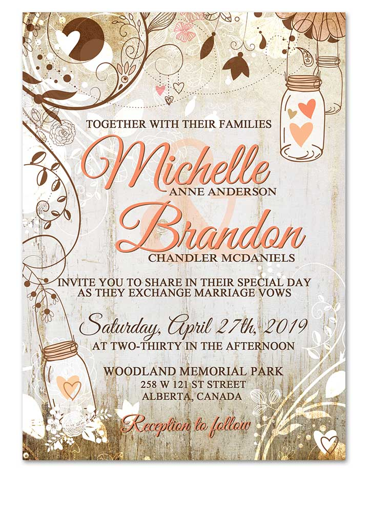 Floral Whitewashed Rustic Chic Wedding Invite