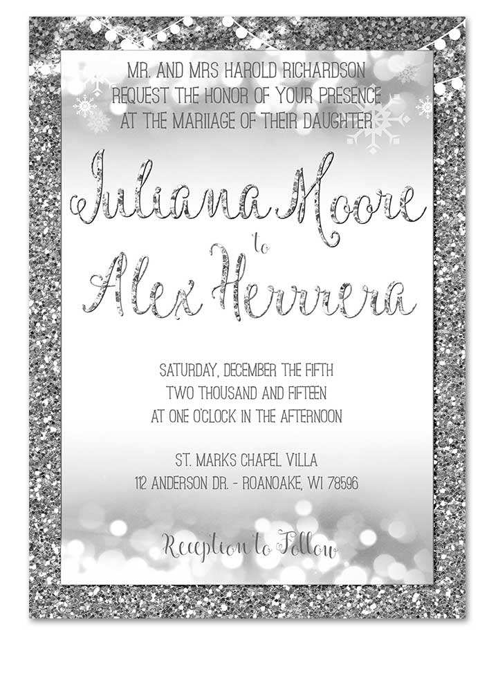 Christmas Wedding Invitations.Digital Winter Silver Glitter Bokeh Wedding Invitation