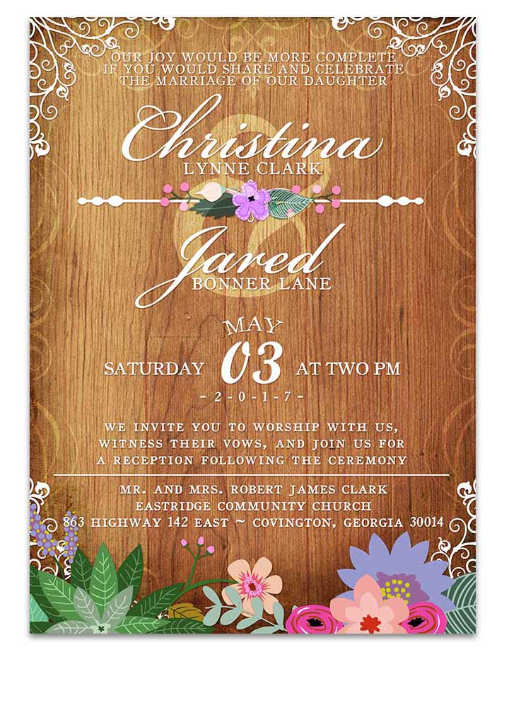Purple Floral Greenery Wedding Invitations