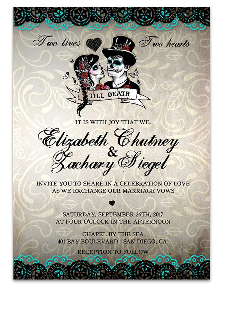 Sugar Skull Bride and Groom Wedding Invitation