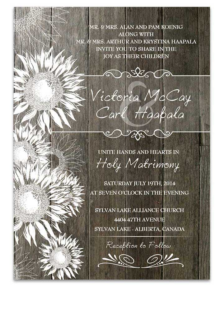 Rustic Barnwood Sunflower Wedding Invitation