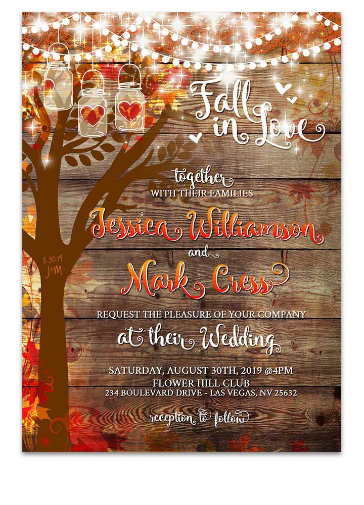 Fall Love Tree Mason Jar Invitation