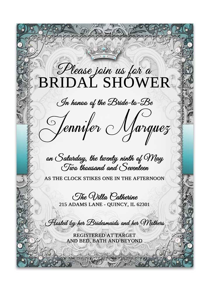 vintage fairytale bridal shower invitation silver odd lot paperie