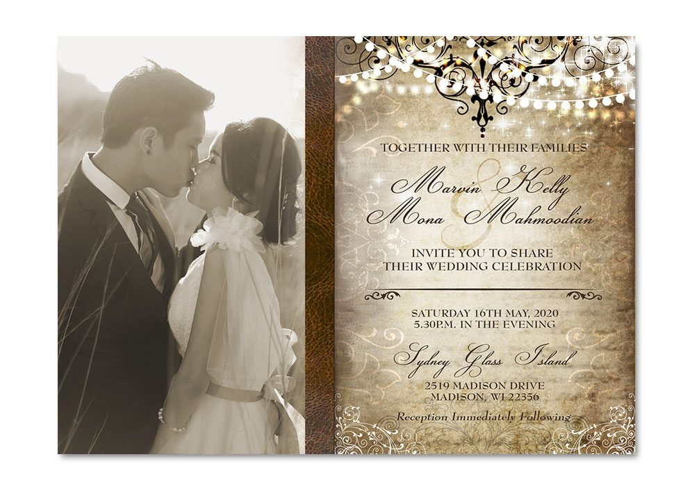Elegant Old World Photo Wedding Invitation