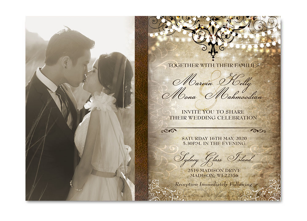 Photo Wedding Invitation: Elegant Old World Photo Wedding Invitation. Vintage Elegance