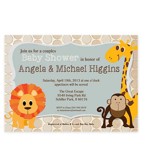 Zoo Themed Boy Blue Baby Shower Invitation For Boys Baby Showers