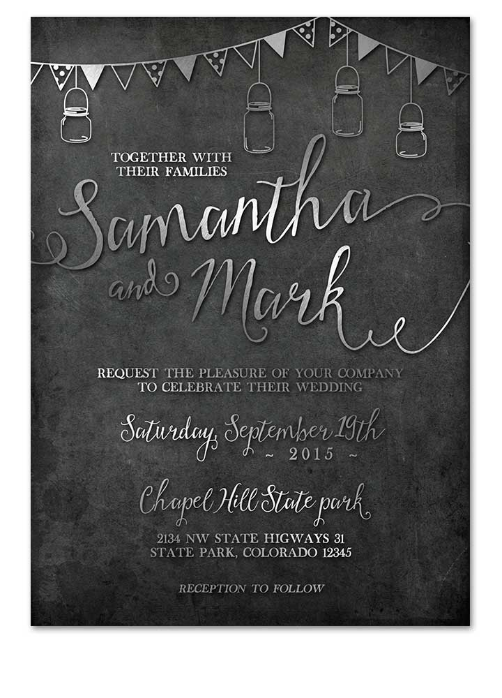 Industrial Chalkboard Wedding Invitations Silver