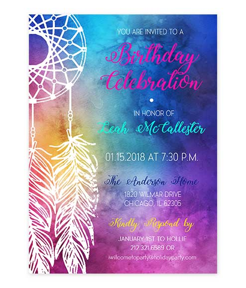 Rainbow Dreamweaver Birthday Invitation