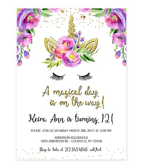 Unicorn gold glitter on white birthday invite invite editable invite unicorn gold glitter on white birthday invite stopboris
