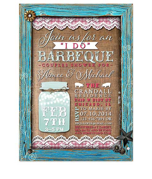 Mason Jar I Do BBQ Bridal Shower Invites BLue Frame