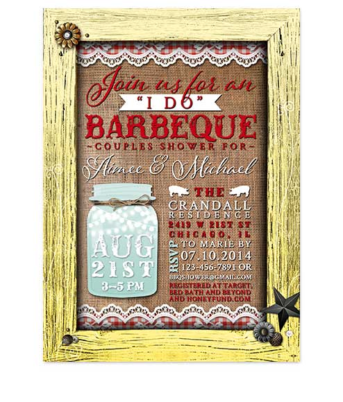 Mason Jar I Do BBQ Bridal Shower Invites Yellow Frame