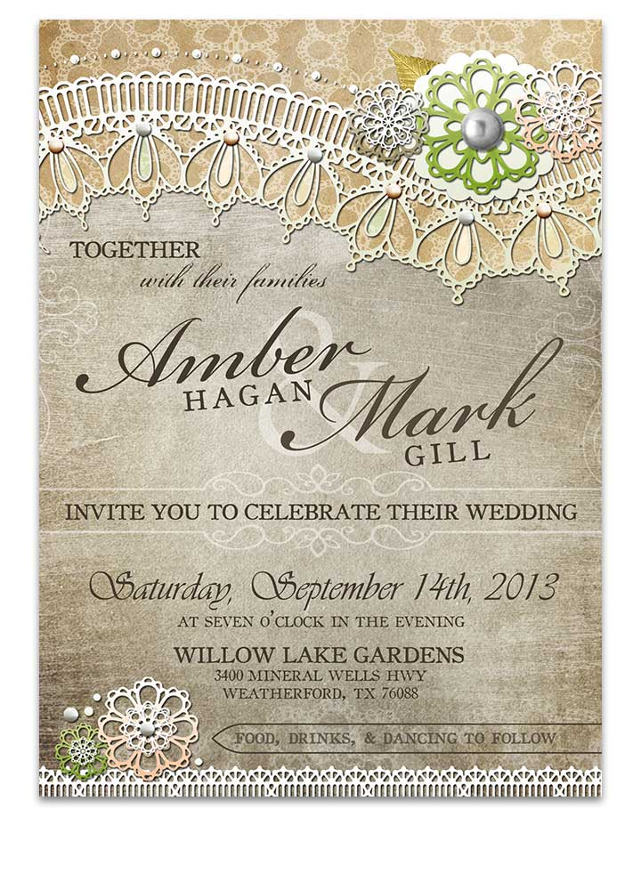Country Rustic Lace Wedding Invitation For Rustic Weddings