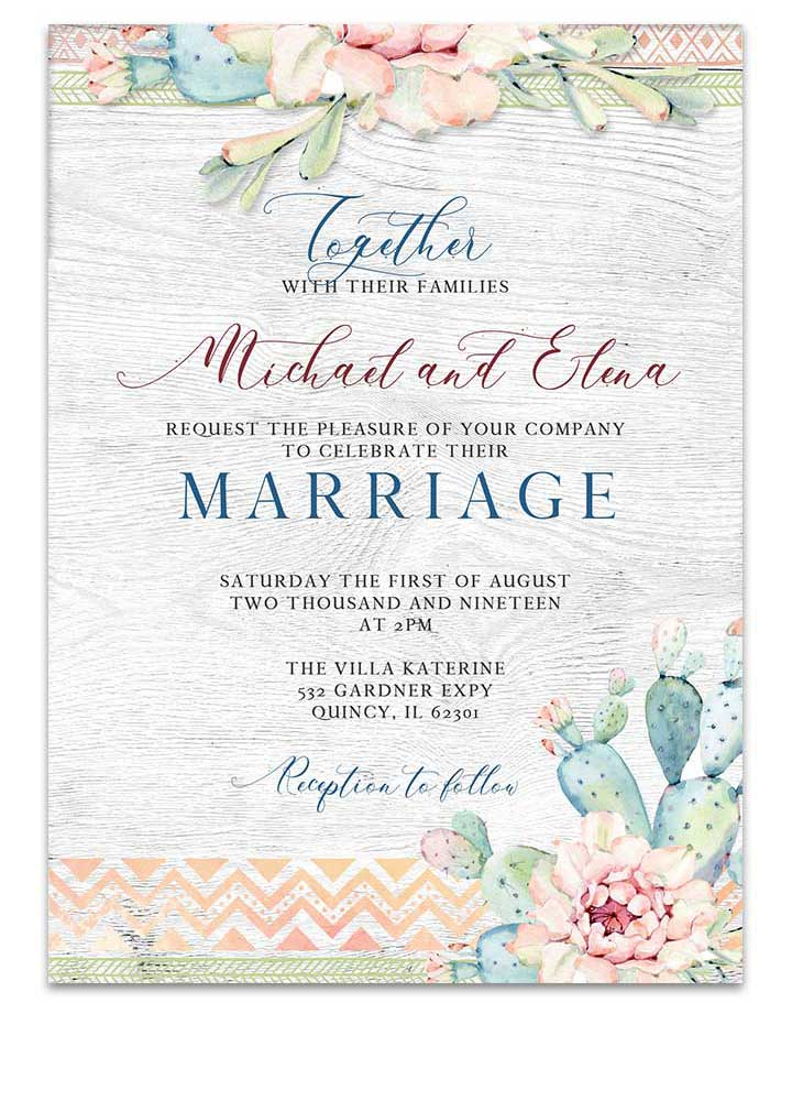 Arizona Watercolor Cactus Wedding Invitation