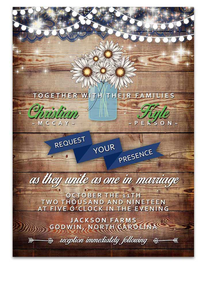 Mason Jar Daisy Flowers Wedding Invitation