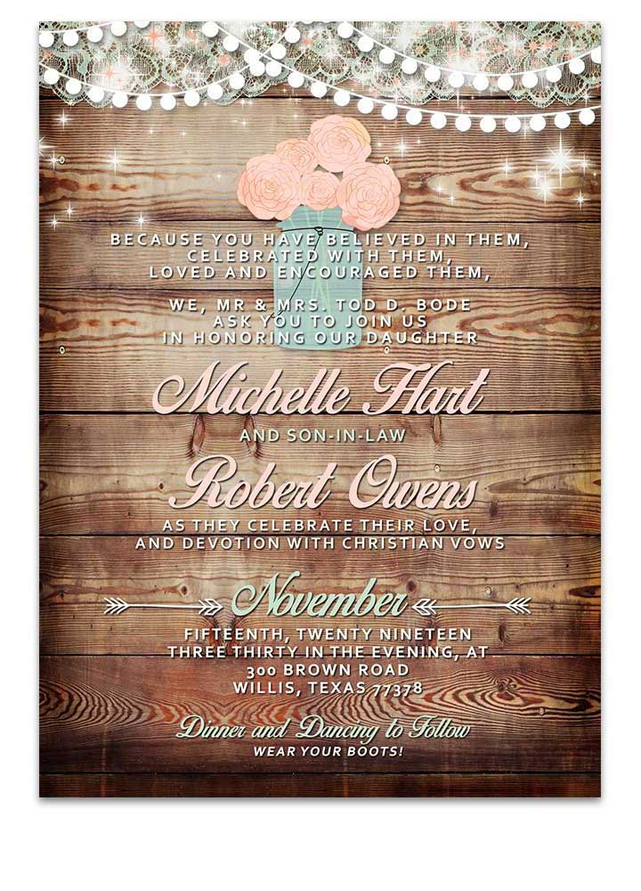 Mason Jar Blush Pink Floral Wedding Invitation