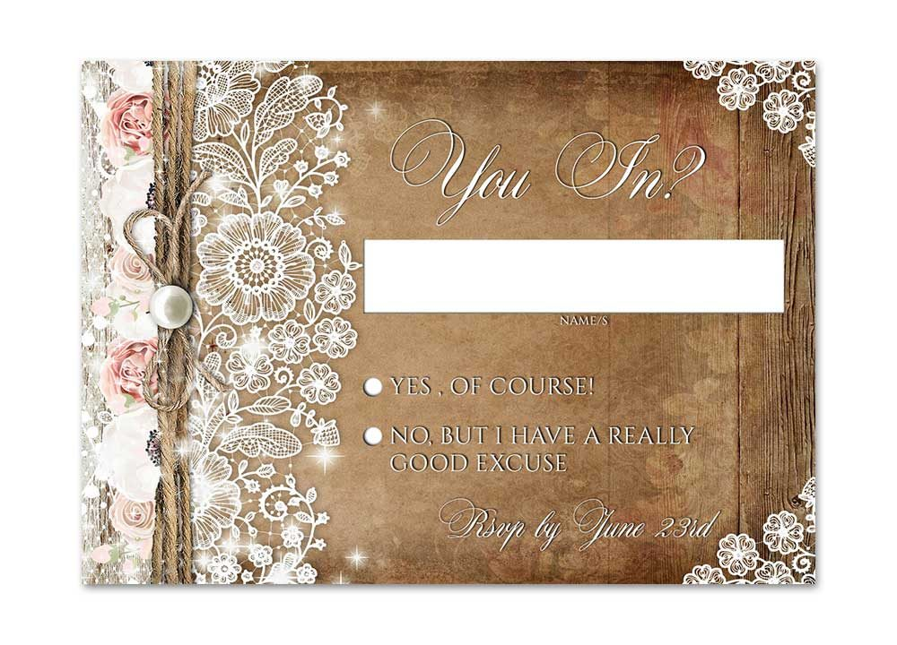 Rustic Lace Blush Pink Rose Wedding Stationery