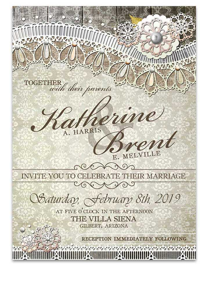 Vintage Wood Lace Damask Wedding Invitation