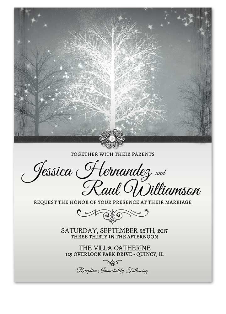 Christmas Wedding Invitations.Winter Wonderland Grey Wedding Invitation