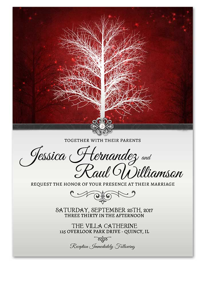 Winter Wonderland Red Wedding Invitation