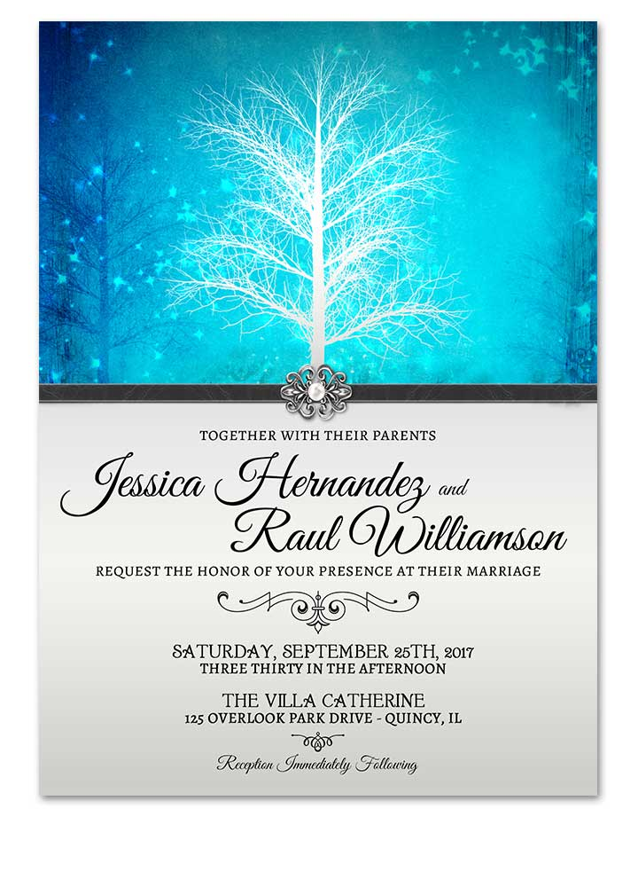 Winter Wonderland Blue Wedding Invitation