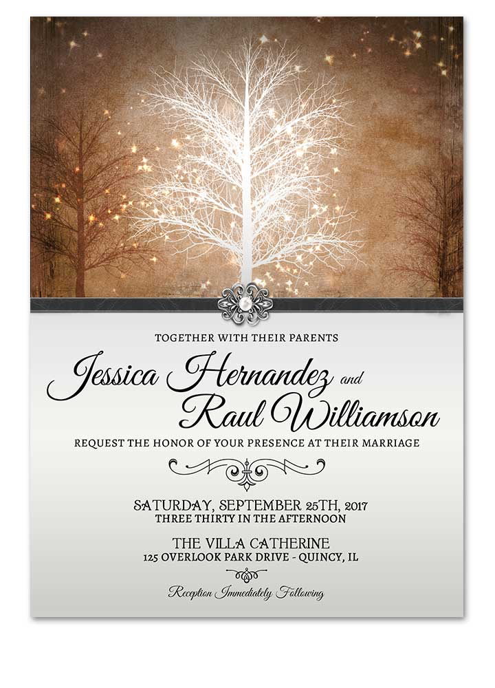 Winter Wonderland Golden Wedding Invitation