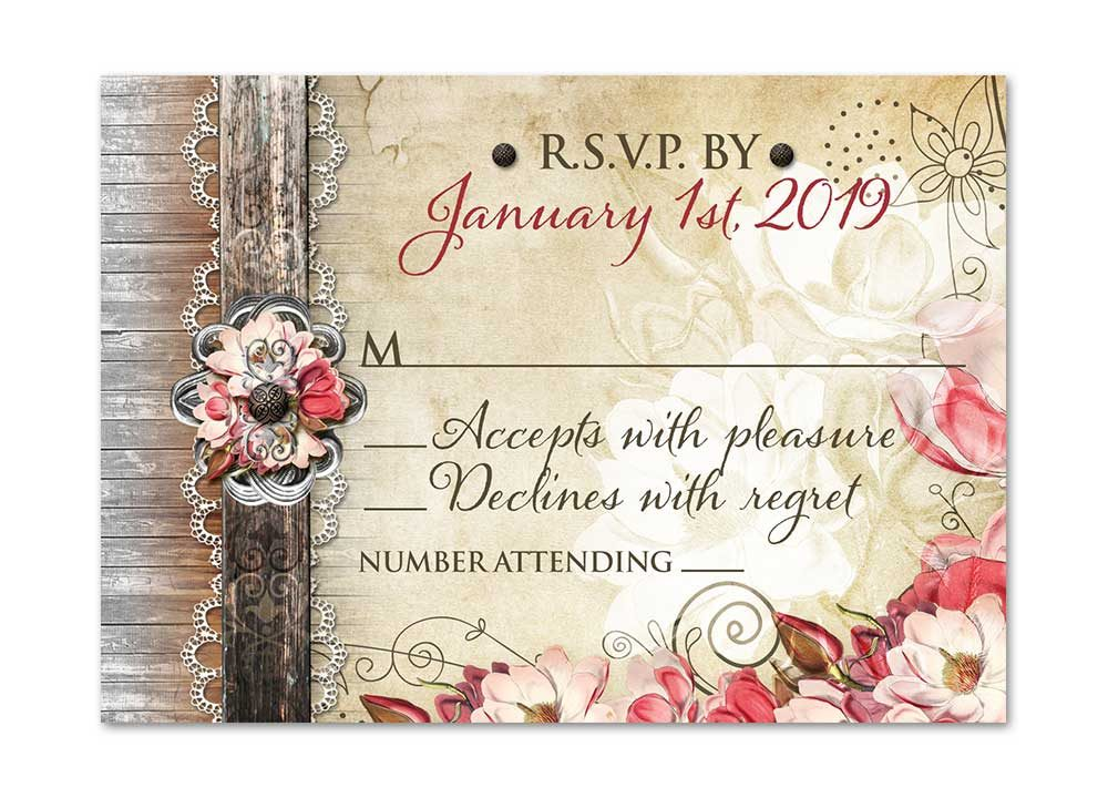 Magnolia Flower Country Rustic RSVP Card