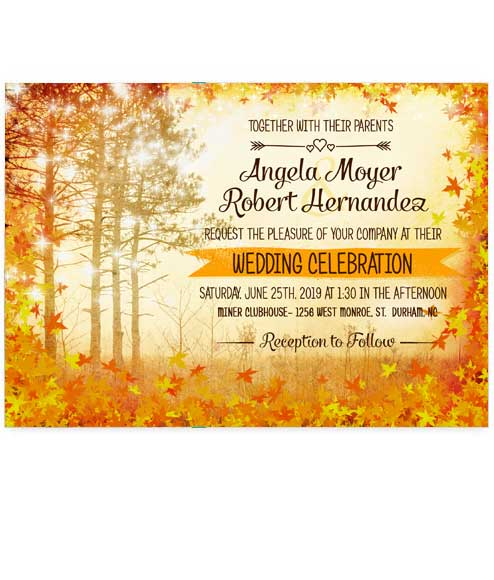Fall Leaves Scenic Autumn Wedding Invitations