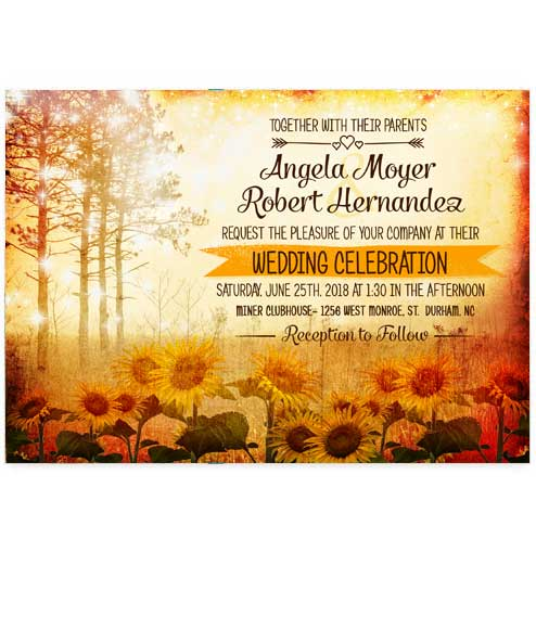 Enchanted Sunflower Field Wedding Invitations