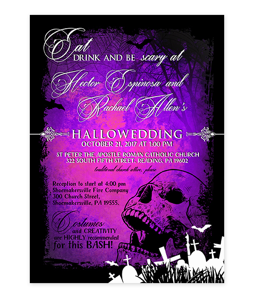 Halloween Skull Graveyard Purple Wedding Invite