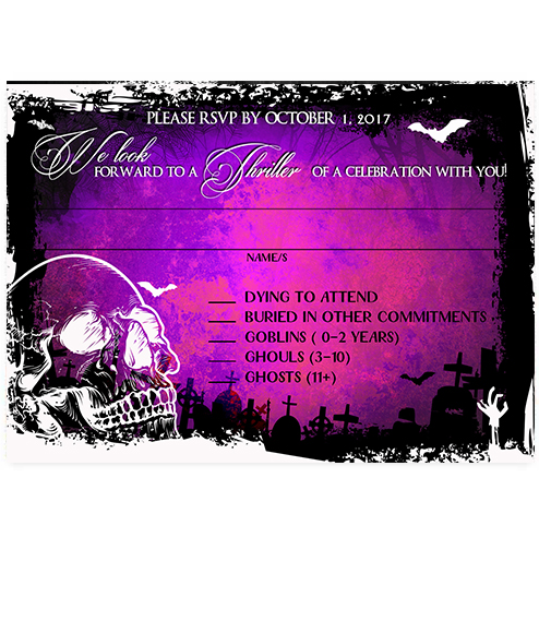 Halloween Skull Graveyard Purple Wedding RSVP