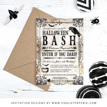 Spooky Crow Halloween Bash Invitation
