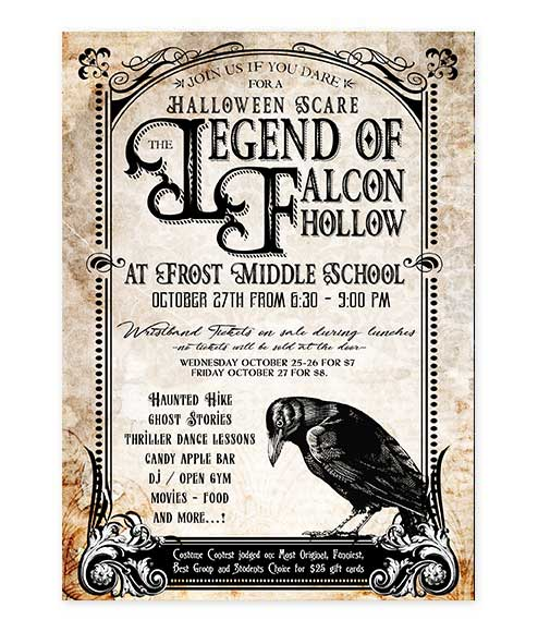 Edgar Allen Crow Halloween Invitation
