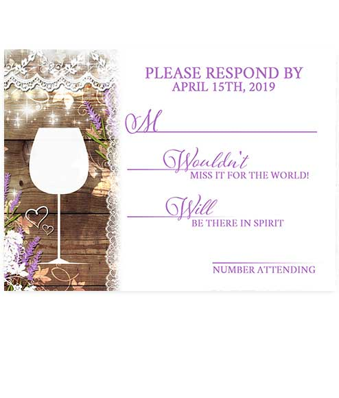 Rustic Lavender Sprigs Mason Jar Wedding RSVP Card