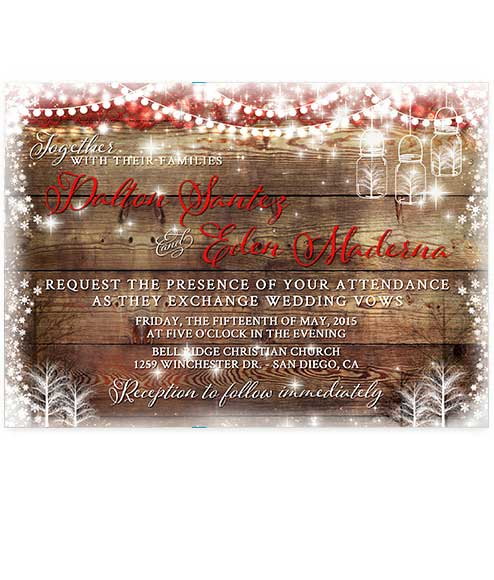 Christmas Mason Jar Wedding Invitation