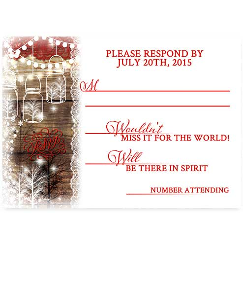 Christmas Mason Jar Wedding Rsvp Card