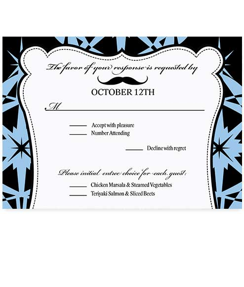 Gentlemans Retro Mustache RSVP Card