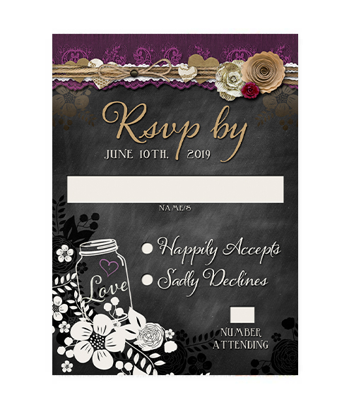 Plum Floral Mason Jar Wedding RSVP
