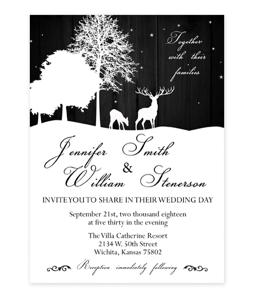 Elegant Starry Night Deer Wedding Invitation